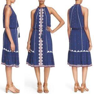 Parker Atlas Embroidered A-Line Midi Dress
